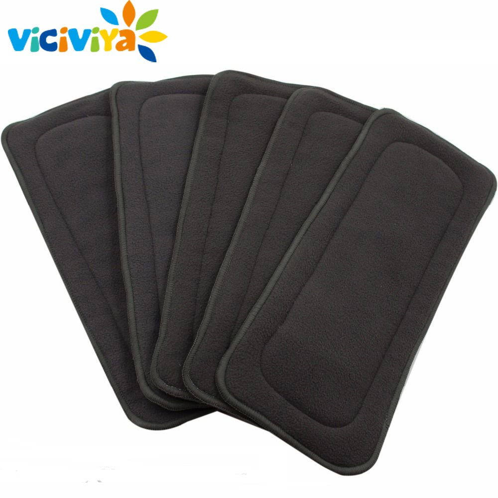 5 Layers Reusable Washable Bamboo Charcoal Inserts Boosters Liners Real Pocket Cloth Nappy Diaper Cover Wrap Microfiber Insert