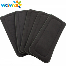 5 slojeva Reusable Washable bambus ugljen umetke Boosters Liners Real džepne tkanine Nappy Diaper Cover Wrap Microfiber Insert