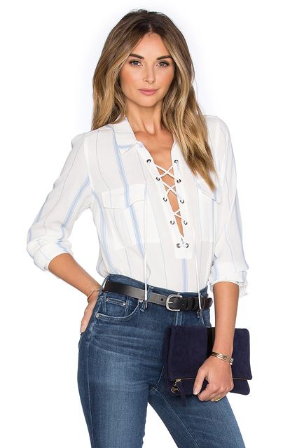 Blue Stripe White Shirt Front Lace Up Tie Up Pocket Sheer See ...