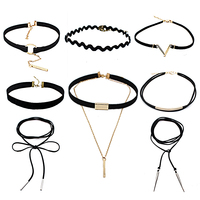8 PCS/Set black Leather Choker Necklace Steampunk Collar Lace Chocker Necklace statement Jewelry Gothic Tattoo collier femme