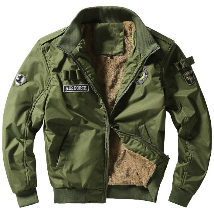 2018 Autumn Air Force 1 Flight Jackets Men Casual Cotton Jackets High Quality Army Green Military Jackets Mens Bomber Coat 4XL Fluffy Black Coat Brown