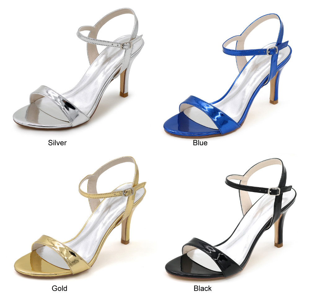236cbac94470f Creativesugar metallic PU silver gold black blue woman simple sandal ...