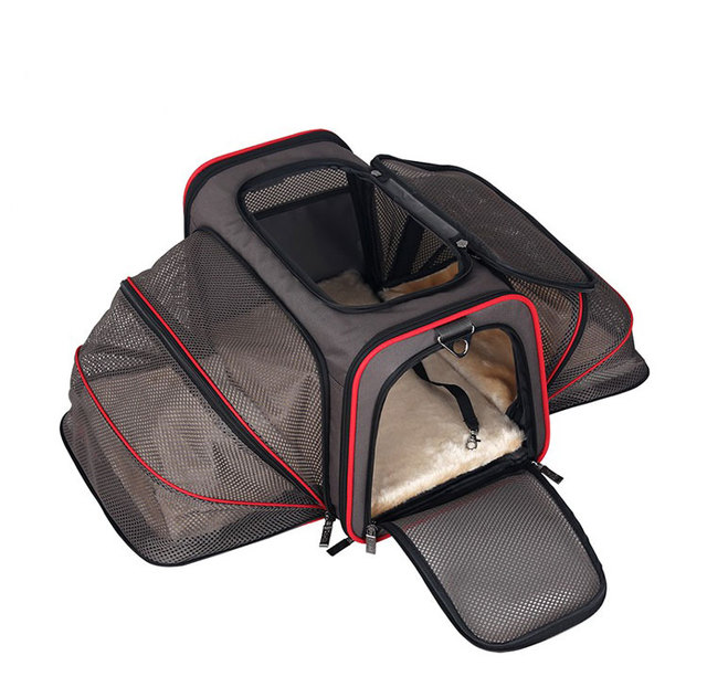 Portable Storage Pet Dog Carrier Bags Dog Cat Puppy Pet Travel Tote Shoulder Bag Cage Crate Gray Black 4