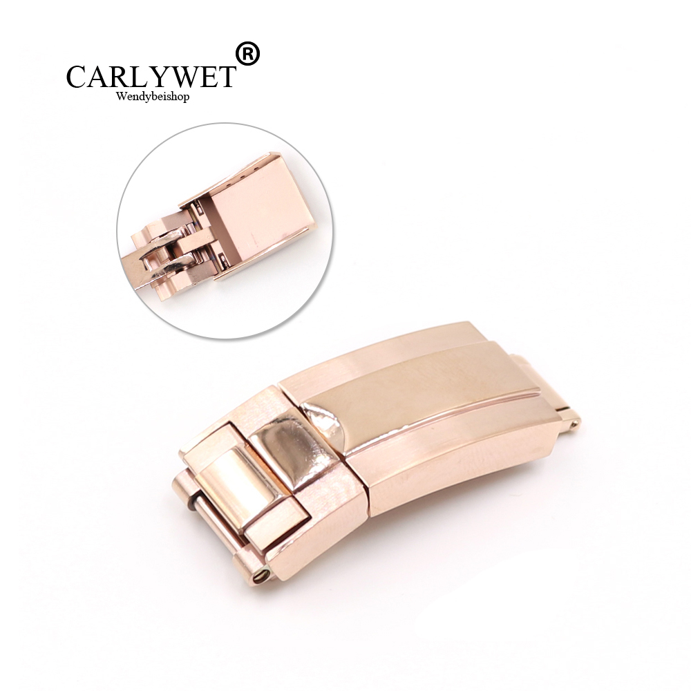 CARLYWET 16mm x 9mm Rose Gold Middle Polished 316L Stainless Steel Watch Band Buckle Deployment Clasp For Bracelet Strap Belt tjp luxury brands stainless steel watch clasp 18mm 20mm silver rose gold polished deployment watchband buckle for patek