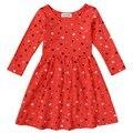 Trajes navidad para las niñas niñas invierno bebé cabritos del vestido 100% algodón de manga larga de forma de corazón rojo vestidos ropa niños