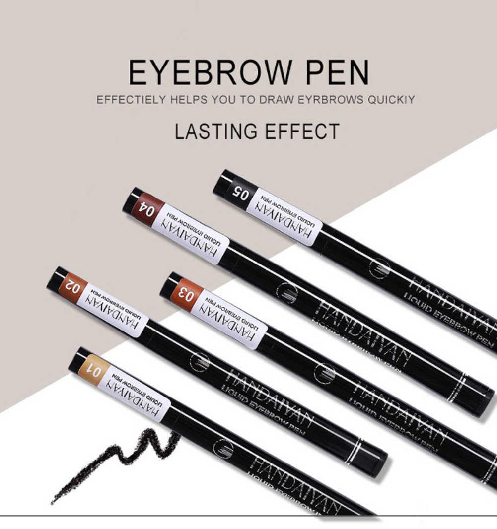 สวมใส่ง่าย 4 หัวส้อม Liquid Eyebrow Tattoo ดินสอสีดำสีน้ำตาลธรรมชาติกันน้ำธรรมชาติปากกาแต่งหน้าคิ้ว TSLM2