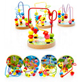 Мини Вокруг Бисер Wire Maze Монтессори Образовательные Игры Бук Деревянные Игрушки для Ребенка Дети Дети