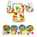 Mini Alrededor Beads Alambre Maze Juego Educativo Montessori Juguete de Madera de Haya para Bebés y Niños Niños