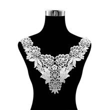 Luxury 3D Flowers Applique Trim Embroidery Venise Lace Collar DIY Guipure Fabric Sewing Trimmings And Embellishments For Dress цены