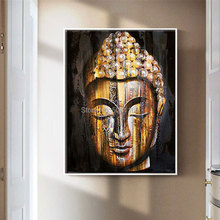 Hand painted Canvas painting Buddhism Wall Art pictures Buddha face oil yellow gold Portrait art