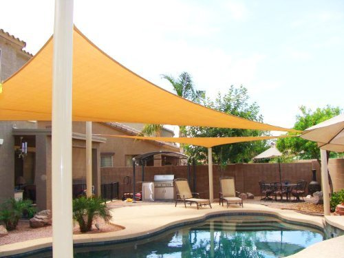 Great Jinguan Net 13 Ft.X 13 Ft. X 13 Ft. Desert Sand Sun Sail Shade. Durable  Woven Outdoor Patio Fabric W/ Up To 90% UV Protection.