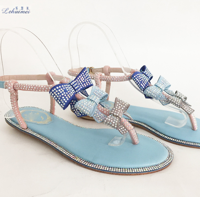 c394279af754 Woman Sandals Women Shoes Rhinestones Chains Gladiator Flat Sandals Crystal  Chaussure Flower bow tie fashion lady BLUE