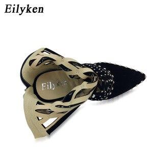 Image 3 - Eilyken/женские сандалии гладиаторы с острым носком, заклепками и вырезами, на шпильках, весна лето 2020
