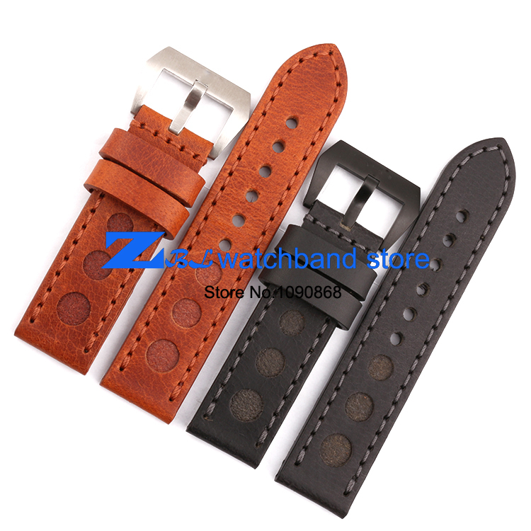new concept 14d37 4a586 US $26.0 |width 24mm manual suture Thick Genuine leather watchband use for  pam00111 watch band men Wrist watch strap wristwatches band-in Watchbands  ...