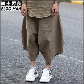 Hot 2020 Summer Men Clothing Fluid All-match Linen Harem Pants Middlelowlevel Low Pants Cross Pants Hairstylist Singer Costumes