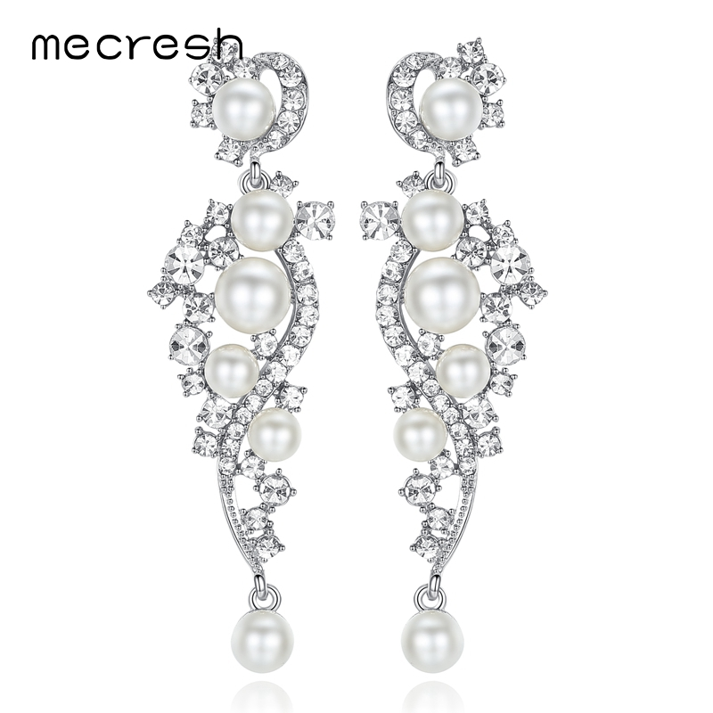 Mecresh Luxury Simulated Pearl Long Earrings för kvinnor Silver - Märkessmycken - Foto 6