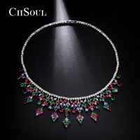 CHSOUL Pendant Necklace For Brides Rhinestone Necklaces Purple Red Flower Green Leaf Teardrop Jewelry Anniversary Christmas