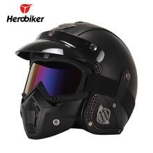 ФОТО herobiker retro vintage motorcycle helmet chopper 3/4 open face helmet synthetic leather casco moto helmet capacete mask glasses