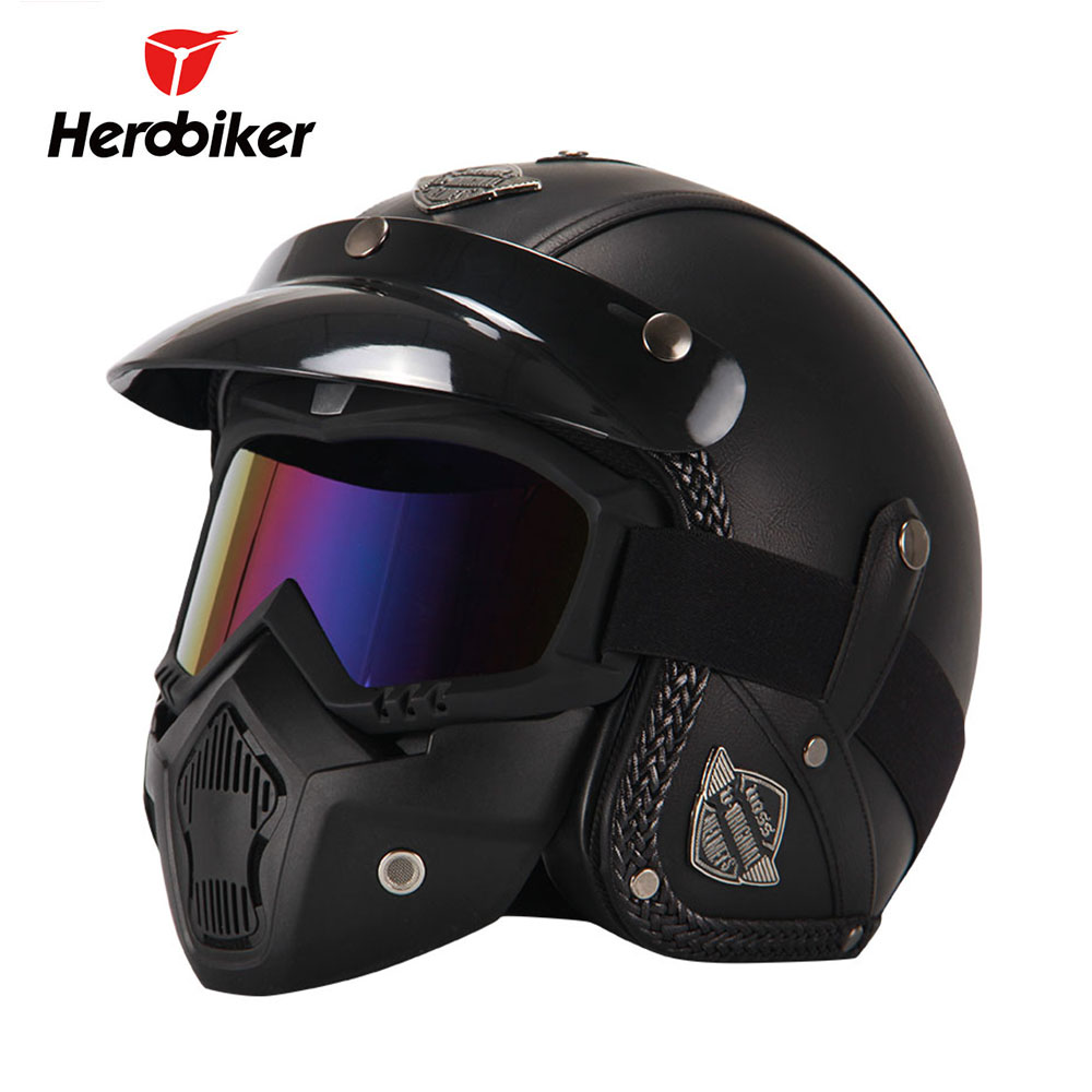 HEROBIKER Retro Vintage Motorcycle Helmet Chopper 3/4 Open Face Helmet Synthetic Leather Casco Moto Helmet Capacete Mask Glasses
