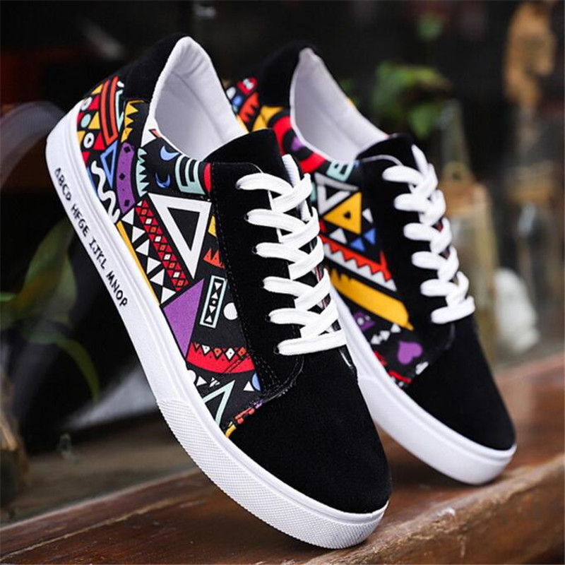 Spring new fashion Breathable men's color matching trend shoes breathable casual sneakers shoes canvas cloth men's shoes