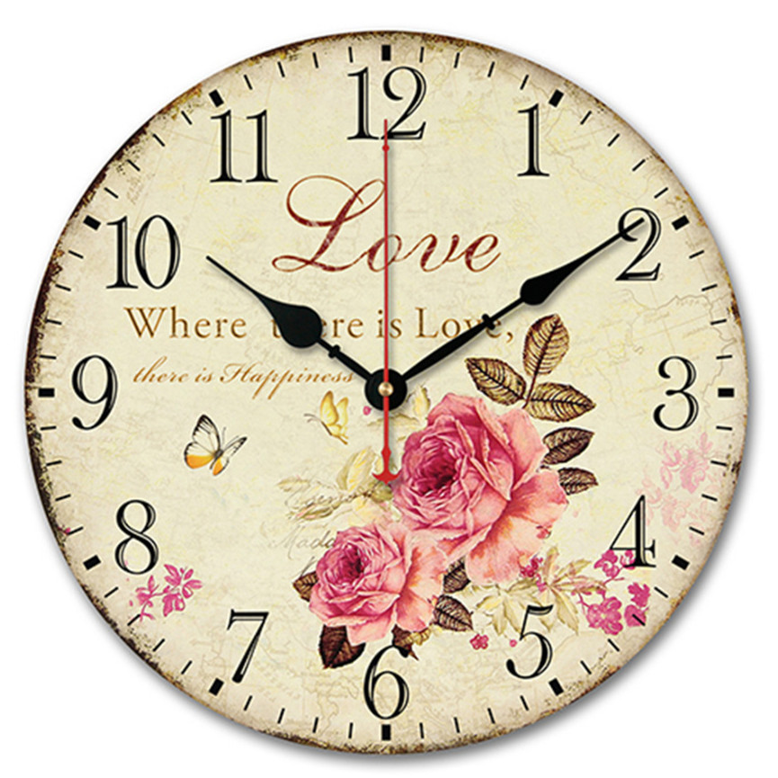 Brand New Vintage Rustic Country Tuscan Style Silent Wooden Wall Clock Antique Home Kitchen Decoration