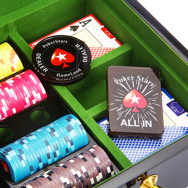Crystal PokerStars Poker Chips Dealer-Button ALL IN-Taste Schöner Poker Stars Card Guard