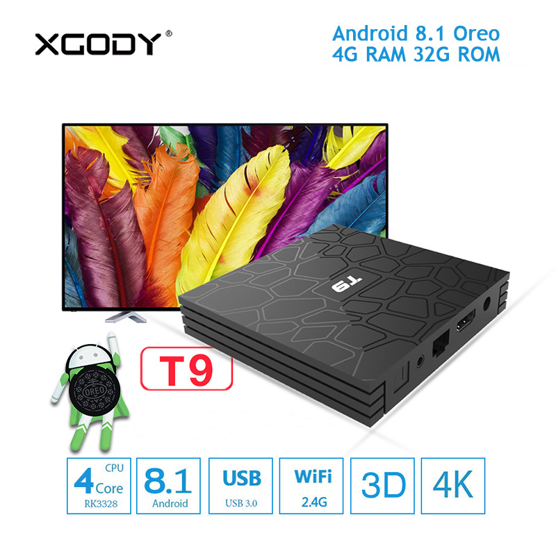 Original XGODY T9 Smart TV Box Android 8.1 Oreo Quad Core 4GB RAM 32GB ROM Bluetooth 4.1 Dual Band WiFi Set top Box TV Streamer