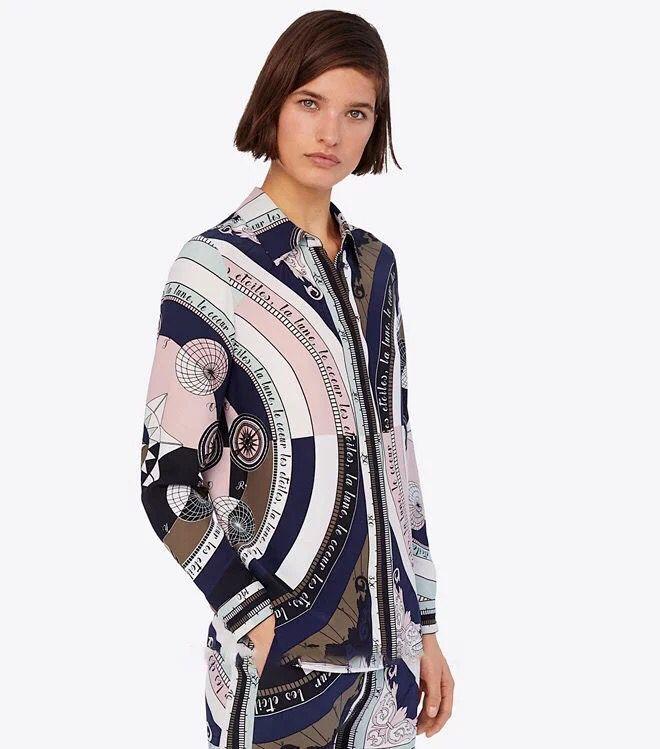 2019 เสื้อใหม่สตรีโรแมนติก Astrolabe รูปแบบเรขาคณิตพิมพ์เสื้อเชิ๊ตแขนยาวเสื้อ-ใน เสื้อสตรีและเสื้อเชิ้ต จาก เสื้อผ้าสตรี บน   1