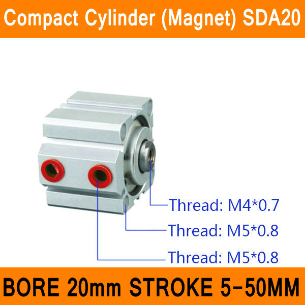 SDA20 Cylinder Magnet SDA Series Bore 20mm Stroke 5-50mm Compact Air Cylinders Dual Action Air Pneumatic Cylinder ISO certified cxsm10 10 cxsm10 20 cxsm10 25 smc dual rod cylinder basic type pneumatic component air tools cxsm series lots of stock