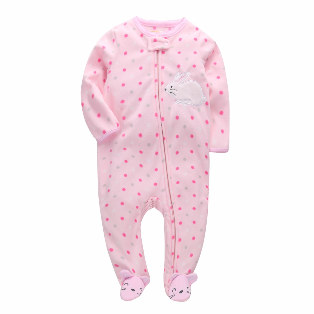 New 2019 baby rompers for girl clothing pink cartoon new born baby clothes one pieces pajamas fleece newborn jumpsuit costume