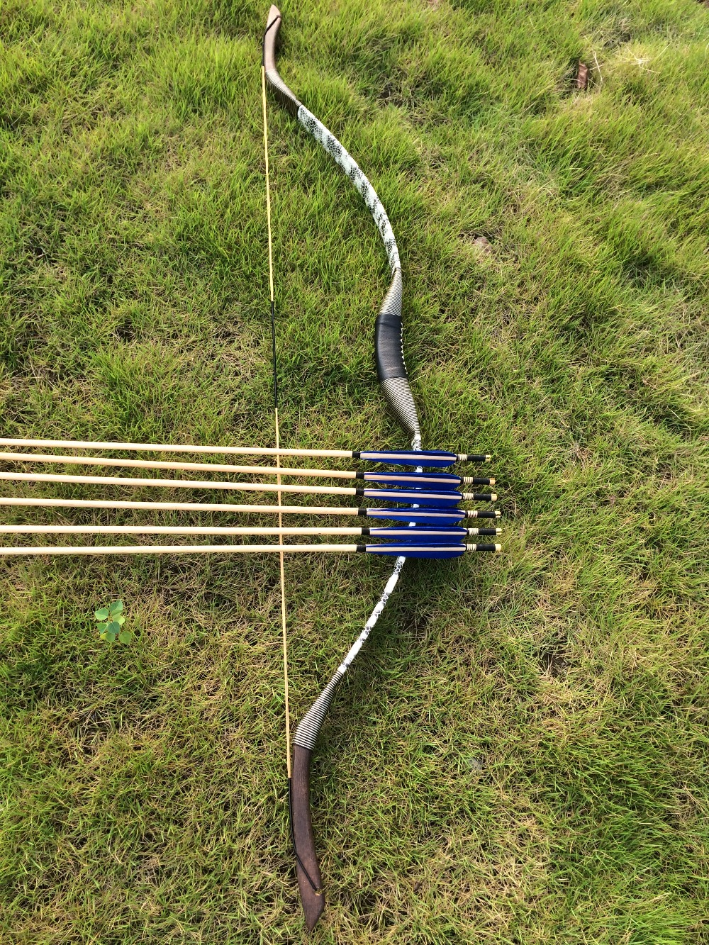 20-60lbs snake Leather bow with 6 full blue wooden arrows for sports20-60lbs snake Leather bow with 6 full blue wooden arrows for sports