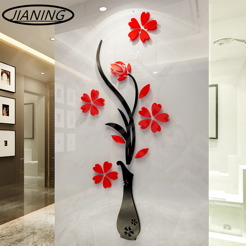3D cristal tridimensionnel vase sticker mural entrée fond mur salon salon tv décoration murale acrylique Mirro stickers