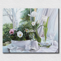 Clean and white tiny flowers painting picture reproduction canvas prints for office wall decoration