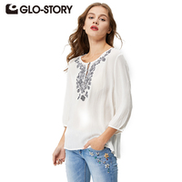 GLO STORY Brand Women Blouse 2016 New Spring Summer Women Shirts White Embroidery Plus Size O
