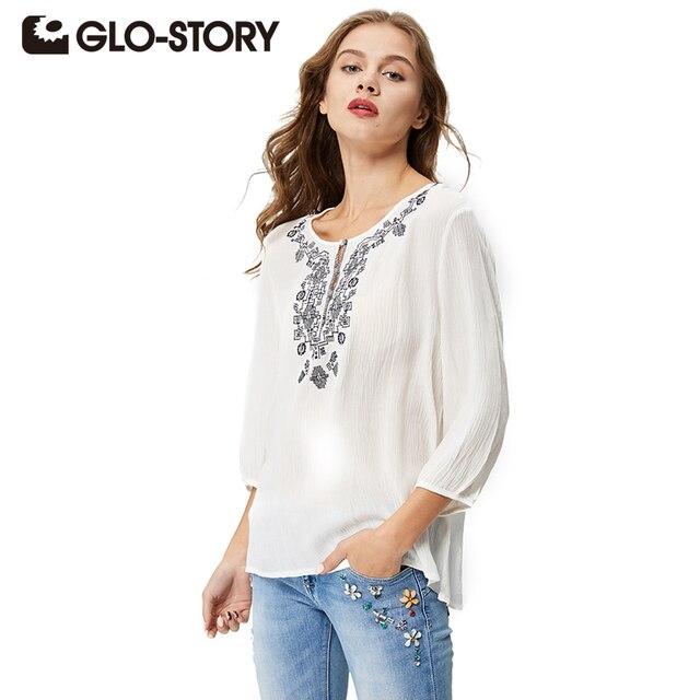 GLO-STORY Женщины Блузка 2017 Новый Летний Женщин рубашки Белый Вышивка блузка Плюс Размер О-Образным Вырезом рубашки Женщины Моды Топы Blusa 1635