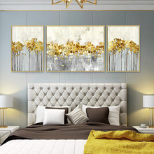 3 pieces Canvas painting modern abstract acrylic gold art quadros caudros decoracion Wall Pictures for living room