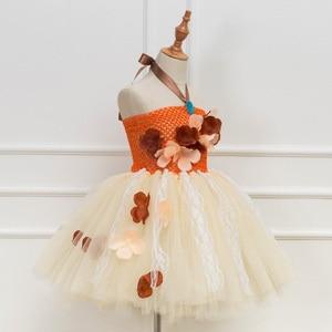 Image 2 - Платье принцессы, пачка Моаны для девочек, вечерние платья на день рождения, детские кружевные тюлевые платья с цветами для девочек, Детский карнавальный костюм на Хэллоуин