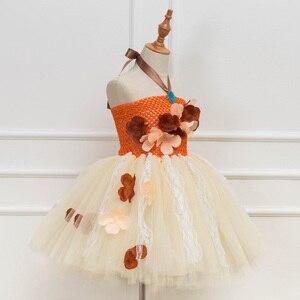 Image 2 - נסיכת Moana טוטו שמלת בנות מסיבת יום הולדת להתלבש ילדי תחרה טול פרח שמלת ילדה ילדים ליל כל הקדושים Cosplay תלבושות