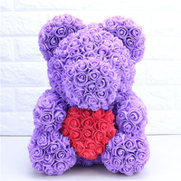 Free Shopping 40cm with Heart Big Red Teddi Bear Rose Flowers Artificial Decoration Christmas Gifts for Women Valentines Gift