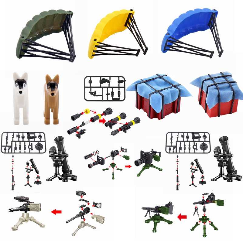 Legoing Military SWAT Figures Weapon Box Police Dog Gun Building Blocks Toys For Children Assemble Weapons Block Kids Toys Gifts