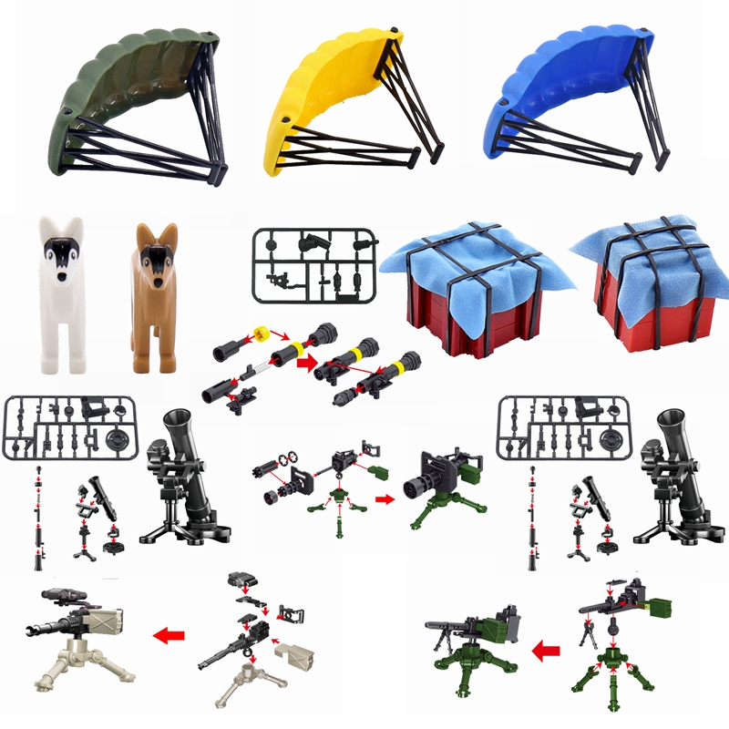 Locking Military SWAT Figures Weapon Box Police Dog Gun Building Blocks Toys For Children Assemble Weapons Block Kids Toys Gifts