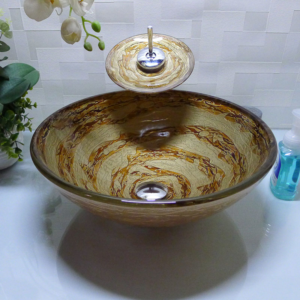 Southeast Asia wash basin above counter basin art basin round bathroom vanity tempered glass washbasin basin hand LO72243