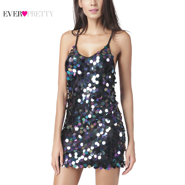 Unique Short Sequin Cocktail Dresses AS05831 Ever Pretty Spaghetti Straps Blue Black Color Short Party Gowns With Backless Back
