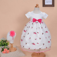 2017 Summer Girls Wedding Floral Dress Birthday Party Embroidered Bow Dresses Toddler Costume With Hair Hoop