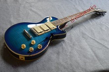 china gitarre versandkostenfrei großhandel benutzerdefinierte facebook gitarre blau Tigerstreifen drei Pickups Körper ems versandkostenfrei
