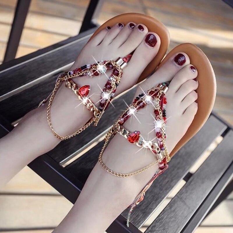 Sandalias Mujer Bohemia Verano Cristal Zapatos De Zapatillas PXZOuki