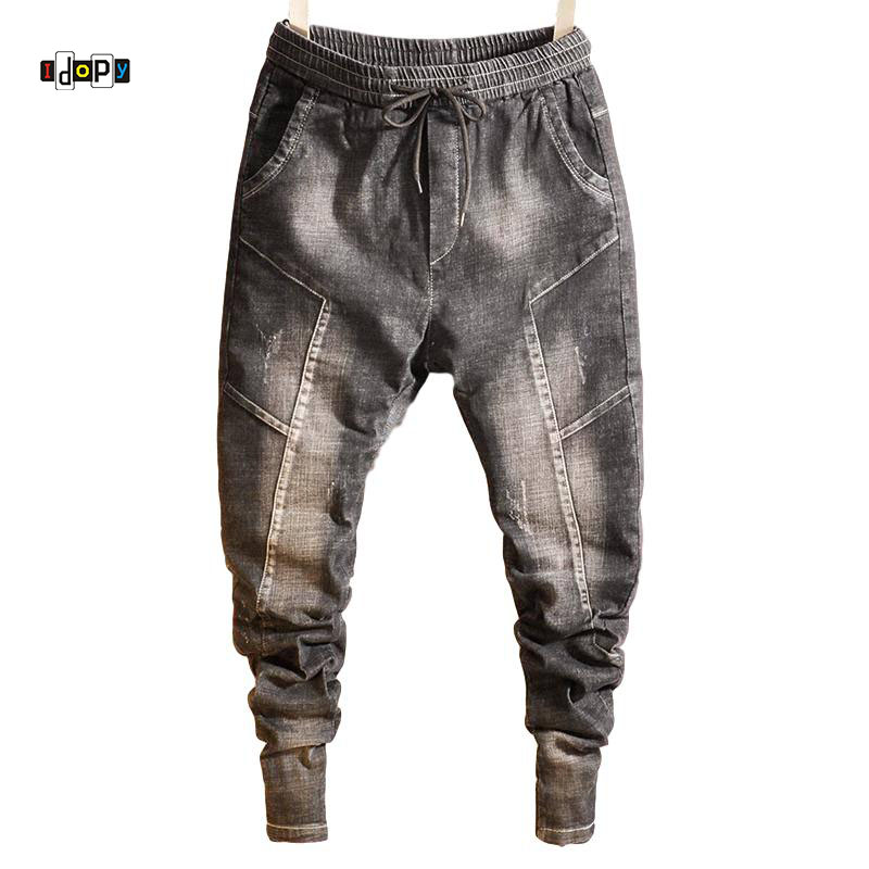 Idopy Fashion Mens Trend Harem   Jeans   Drawstring Comfy Drop Crotch Vintage Harem Comfortable Cuffed Trousers Joggers For Male