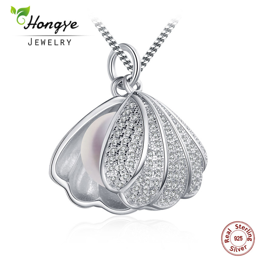 Hongye 925 Silber Perle Anhänger für Frauen, echte natürliche Süßwasser Perle Anhänger Halskette Perlmutt Schmuck Shell Design