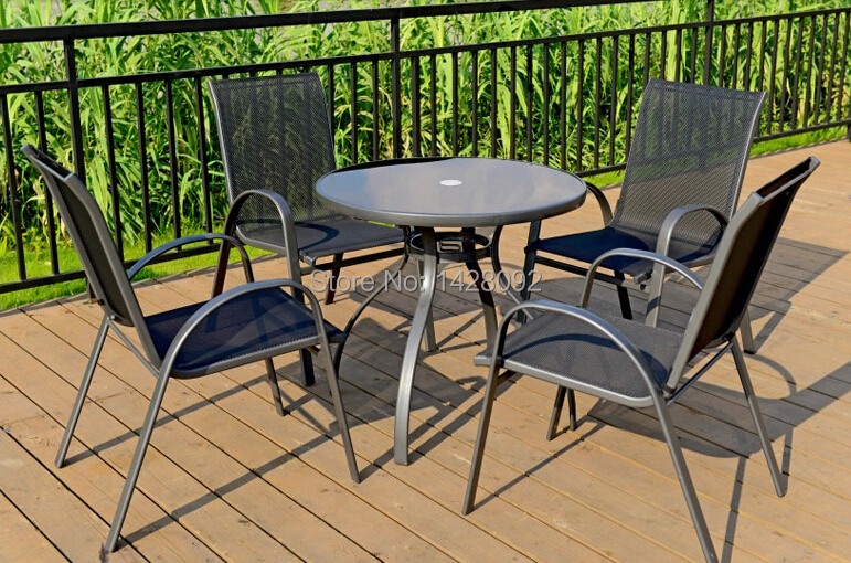 Outdoor stacking chair and table  outdoor leisure chair and table ceramic 4 piece stacking