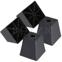 4x Trapezoid Black Plastic Furniture Legs For Sofa 97 X 98 X 65mm BQLZR